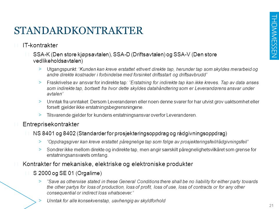 Standardkontrakter IT-kontrakter Entreprisekontrakter
