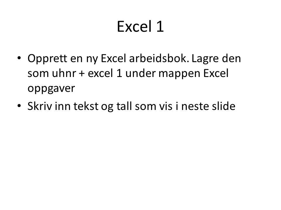 Excel 1 Opprett en ny Excel arbeidsbok. Lagre den som uhnr + excel 1 under mappen Excel oppgaver.