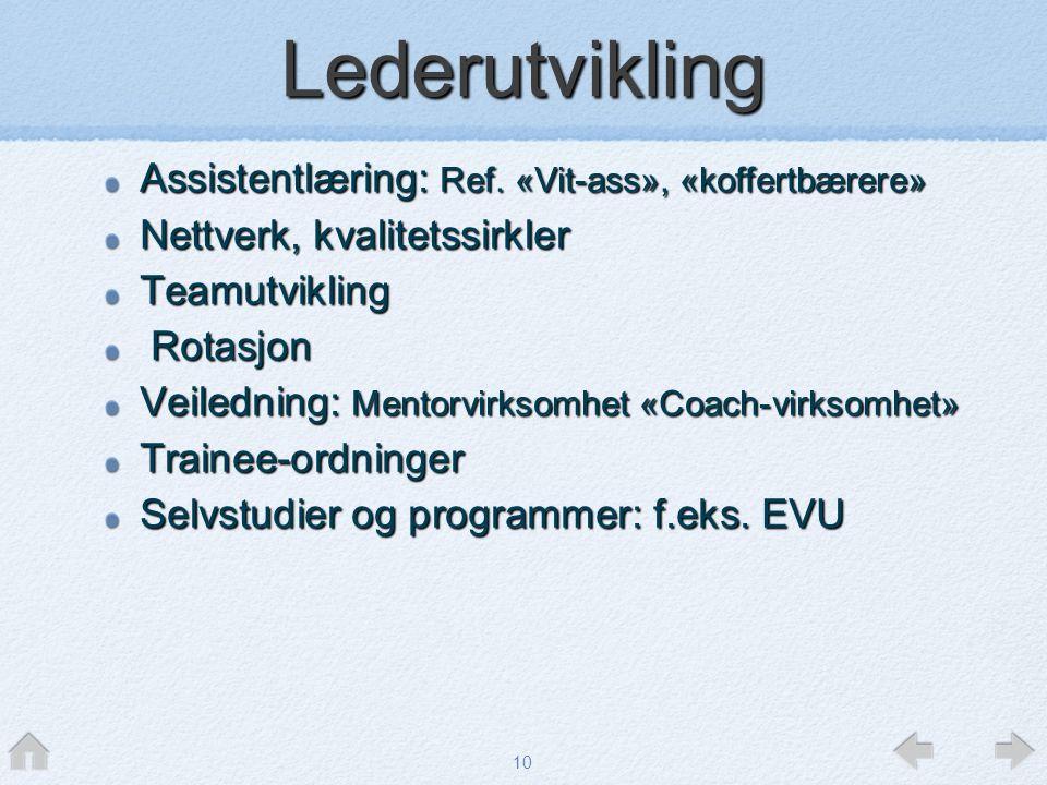 Lederutvikling Assistentlæring: Ref. «Vit-ass», «koffertbærere»
