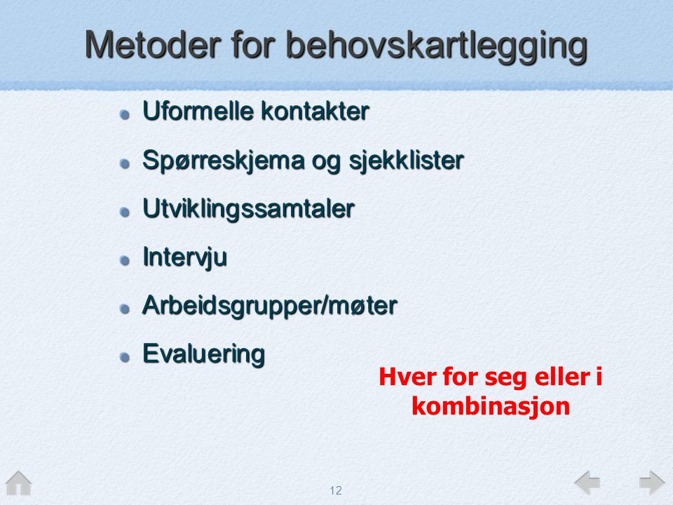 Metoder for behovskartlegging