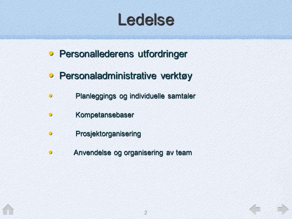 Ledelse Personallederens utfordringer Personaladministrative verktøy
