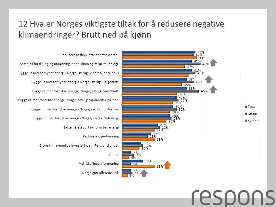 12 Hva er Norges viktigste tiltak for å redusere negative klimaendringer Brutt ned på kjønn