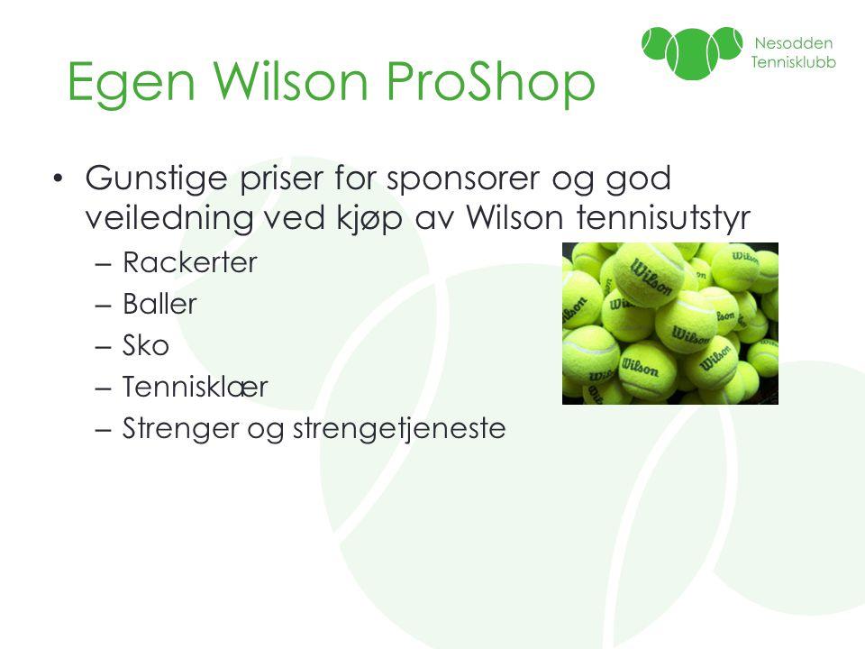 Egen Wilson ProShop Gunstige priser for sponsorer og god veiledning ved kjøp av Wilson tennisutstyr.