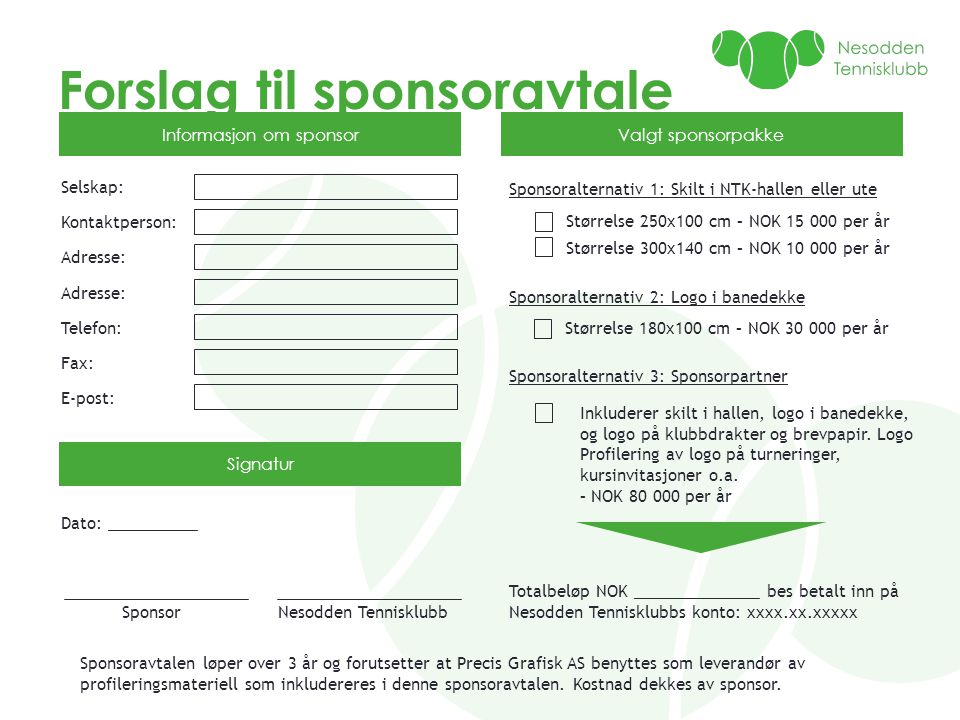 Forslag til sponsoravtale