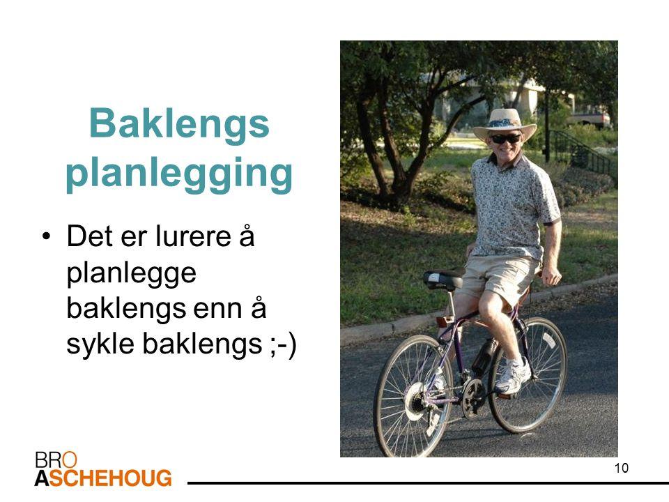 Baklengs planlegging Det er lurere å planlegge baklengs enn å sykle baklengs ;-) Lokalt læreplanarbeid -