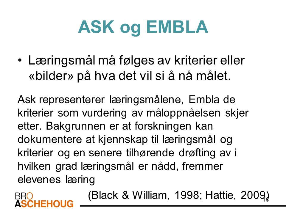 ASK og EMBLA Læringsmål må følges av kriterier eller «bilder» på hva det vil si å nå målet.