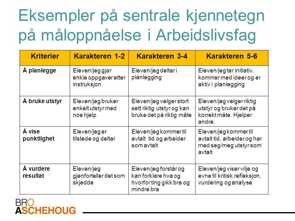 Eksempler på sentrale kjennetegn på måloppnåelse i Arbeidslivsfag