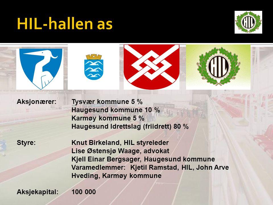 HIL-hallen as Aksjonærer: Tysvær kommune 5 % Haugesund kommune 10 %