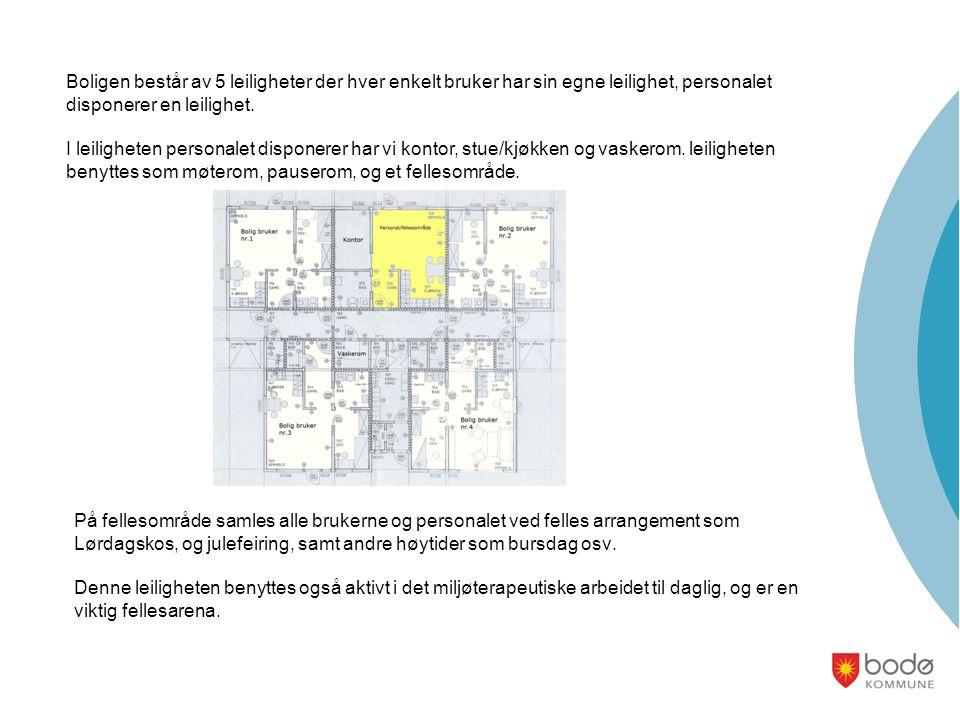Boligen består av 5 leiligheter der hver enkelt bruker har sin egne leilighet, personalet disponerer en leilighet.