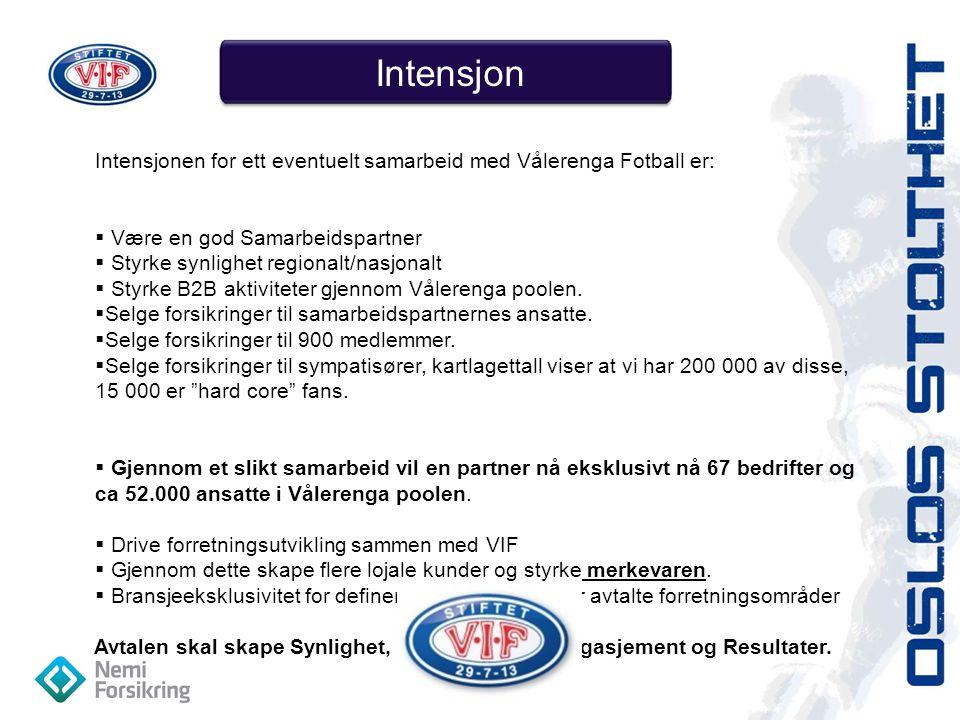 Intensjon Intensjonen for ett eventuelt samarbeid med Vålerenga Fotball er: Være en god Samarbeidspartner.