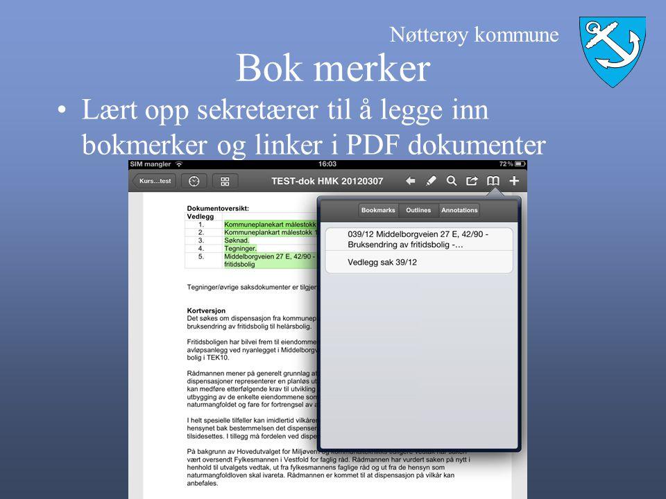 Bok merker Lært opp sekretærer til å legge inn bokmerker og linker i PDF dokumenter