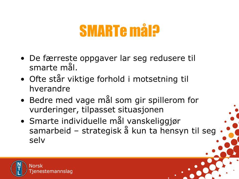 SMARTe mål De færreste oppgaver lar seg redusere til smarte mål.
