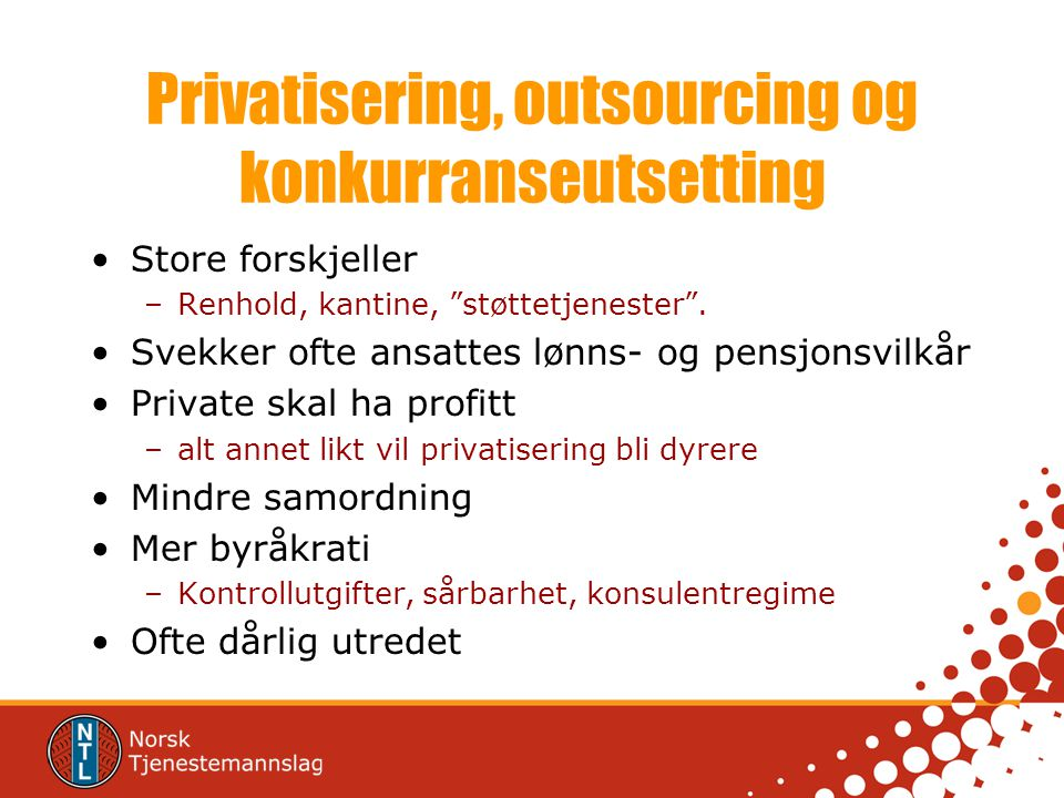 Privatisering, outsourcing og konkurranseutsetting