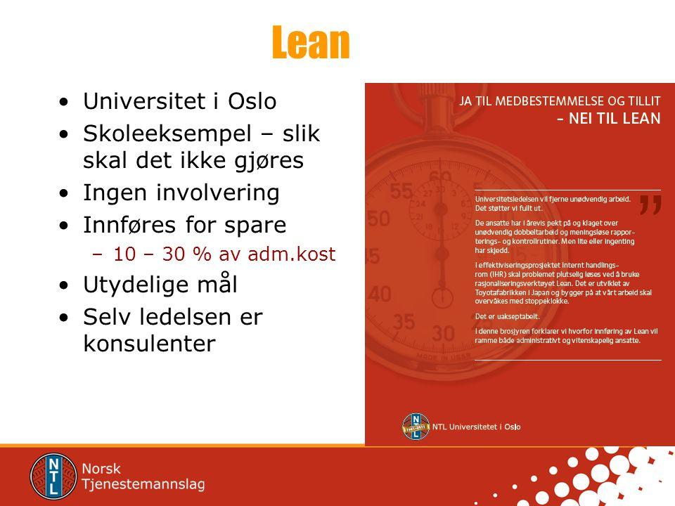 Lean Universitet i Oslo Skoleeksempel – slik skal det ikke gjøres
