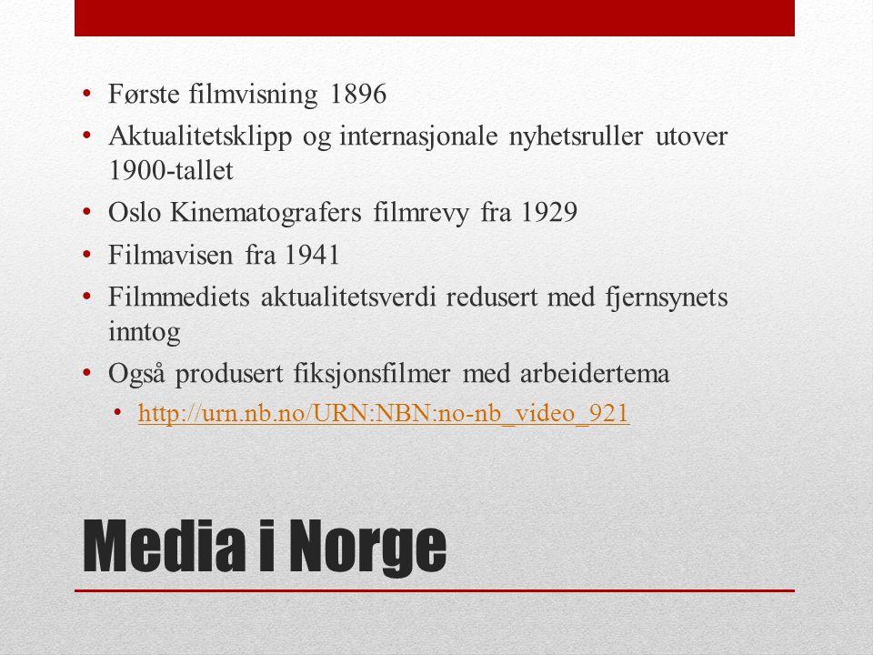 Media i Norge Første filmvisning 1896