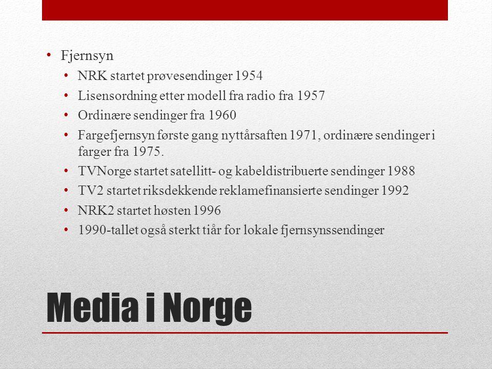 Media i Norge Fjernsyn NRK startet prøvesendinger 1954