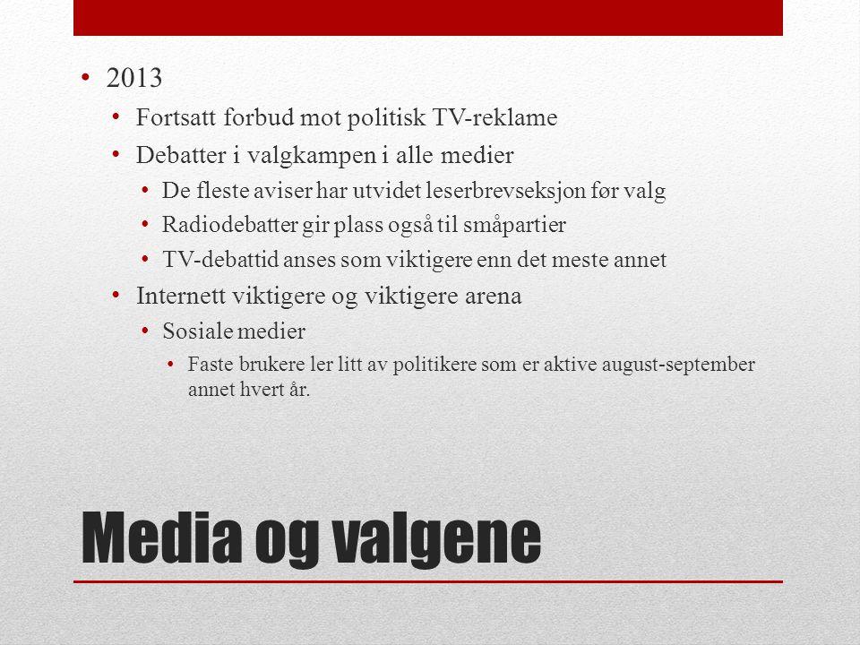 Media og valgene 2013 Fortsatt forbud mot politisk TV-reklame