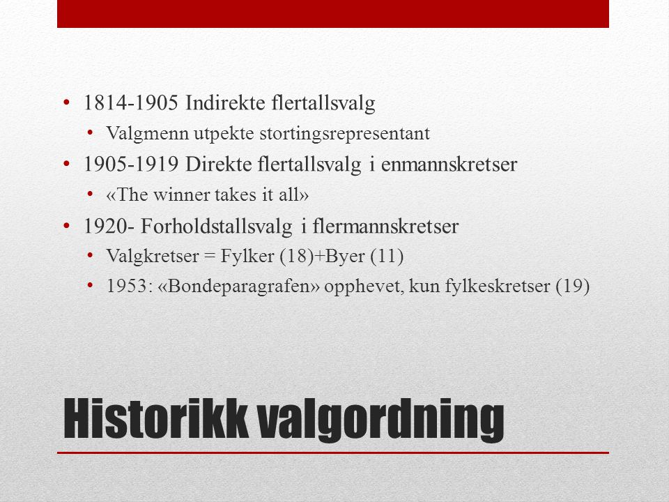 Historikk valgordning