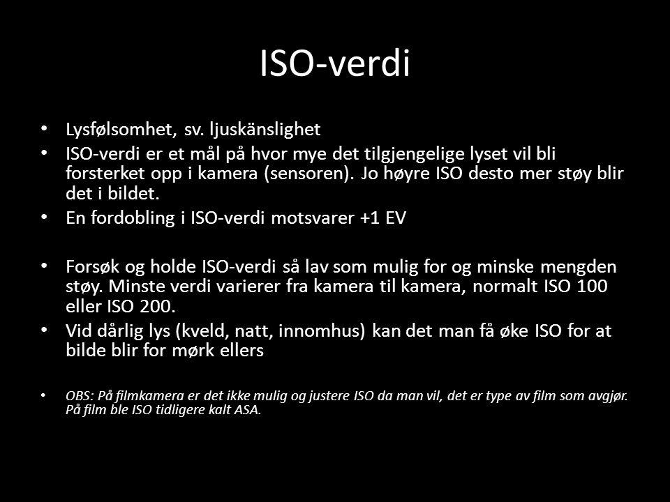 ISO-verdi Lysfølsomhet, sv. ljuskänslighet
