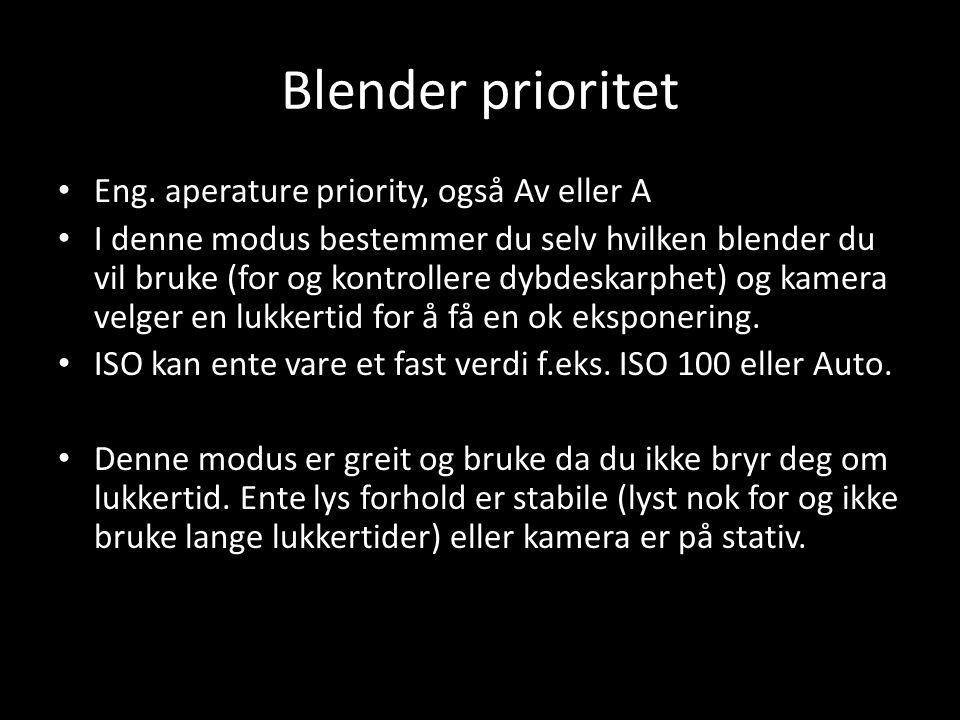 Blender prioritet Eng. aperature priority, også Av eller A
