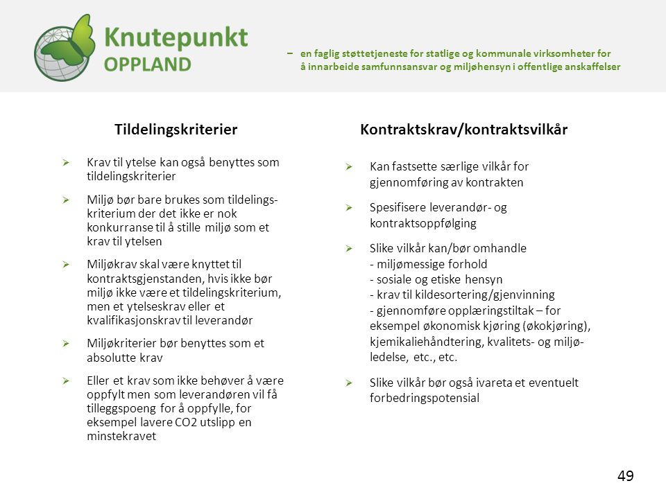 Kontraktskrav/kontraktsvilkår