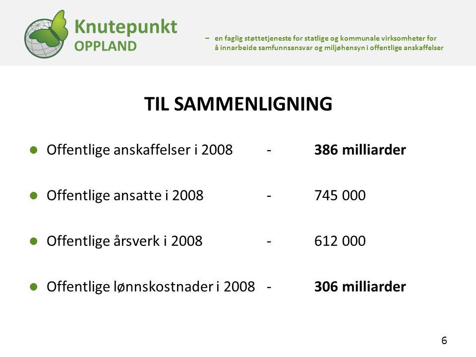 TIL SAMMENLIGNING Offentlige anskaffelser i 2008 - 386 milliarder