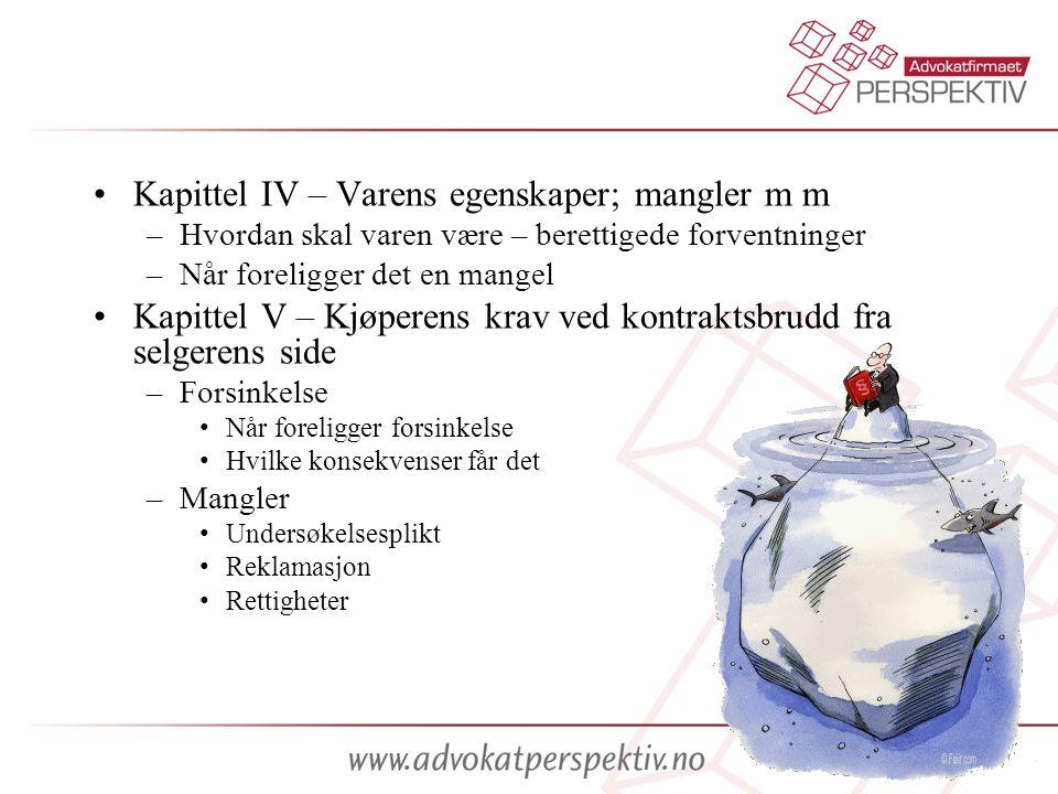 Kapittel IV – Varens egenskaper; mangler m m