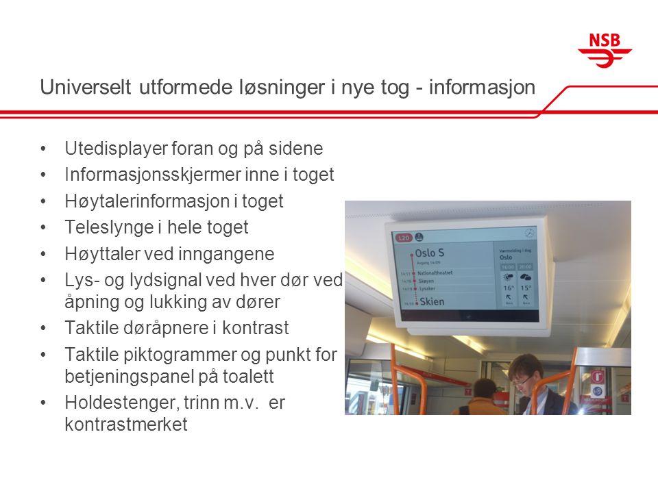Universelt utformede løsninger i nye tog - informasjon