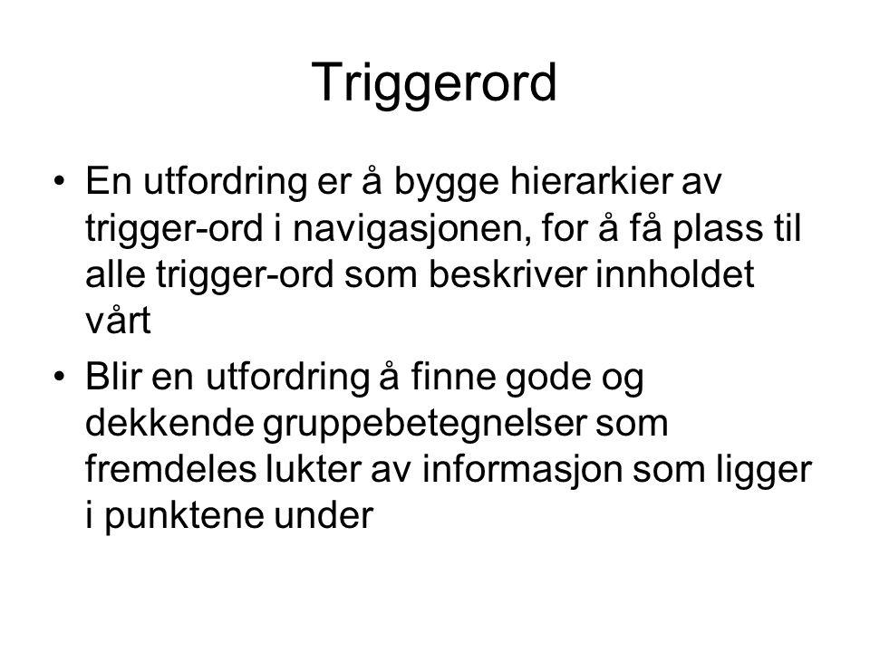 Triggerord En utfordring er å bygge hierarkier av trigger-ord i navigasjonen, for å få plass til alle trigger-ord som beskriver innholdet vårt.