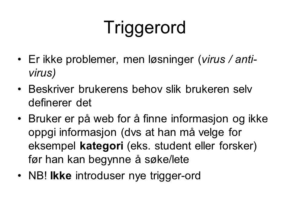 Triggerord Er ikke problemer, men løsninger (virus / anti-virus)