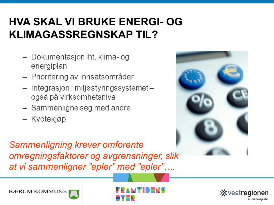 Hva skal vi bruke energi- og klimagassregnskap til