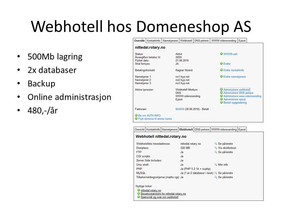 Webhotell hos Domeneshop AS