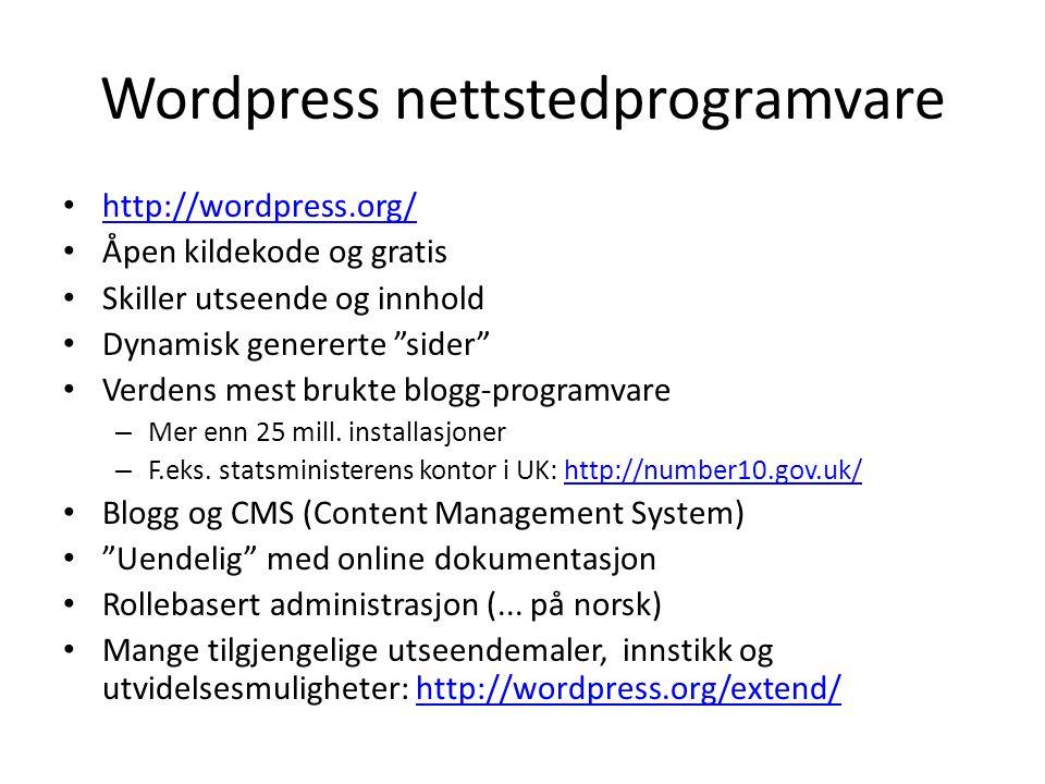 Wordpress nettstedprogramvare
