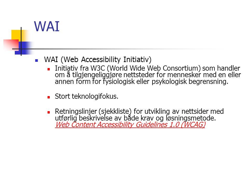 WAI WAI (Web Accessibility Initiativ)