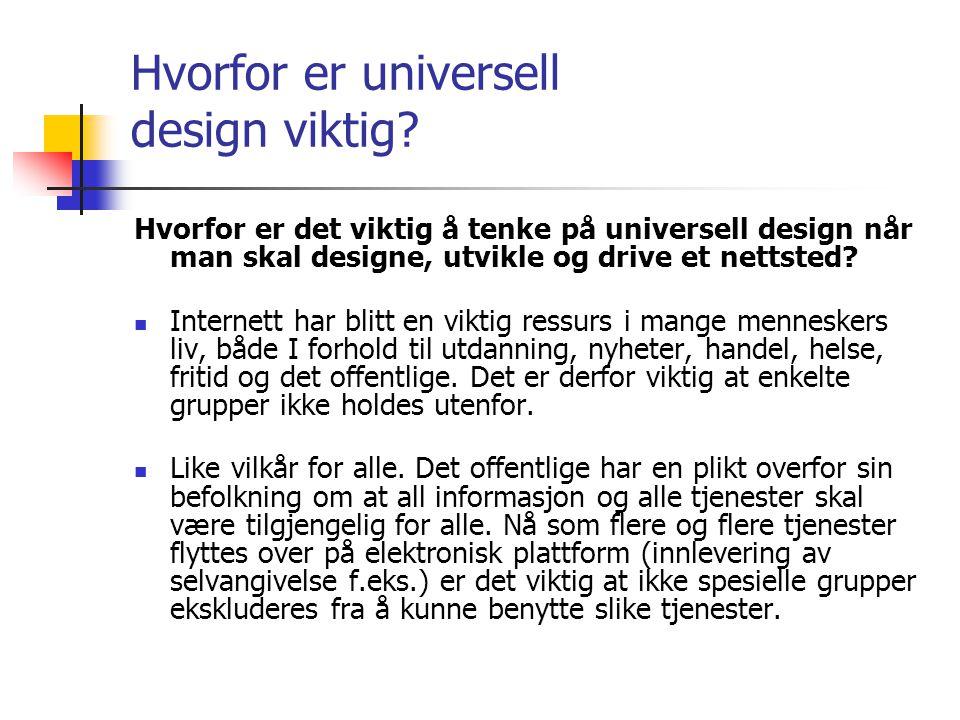 Hvorfor er universell design viktig