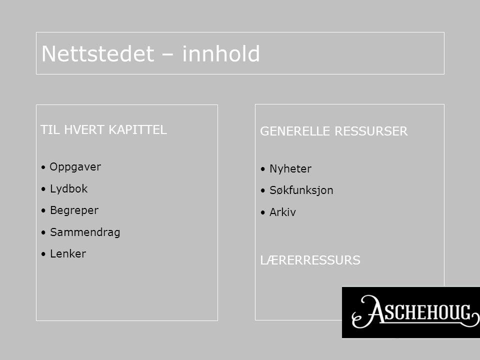 Nettstedet – innhold TIL HVERT KAPITTEL GENERELLE RESSURSER