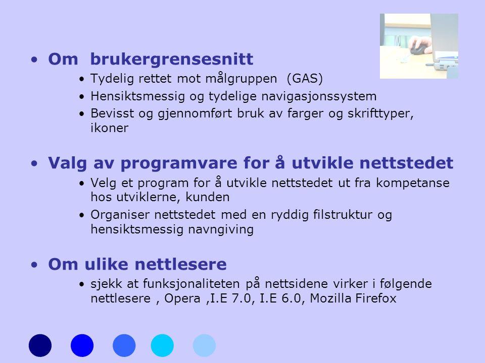 Valg av programvare for å utvikle nettstedet