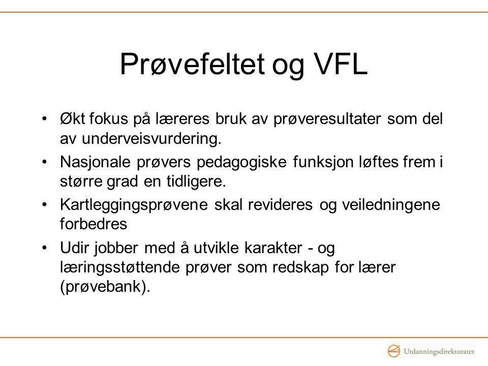 Prøvefeltet og VFL Økt fokus på læreres bruk av prøveresultater som del av underveisvurdering.