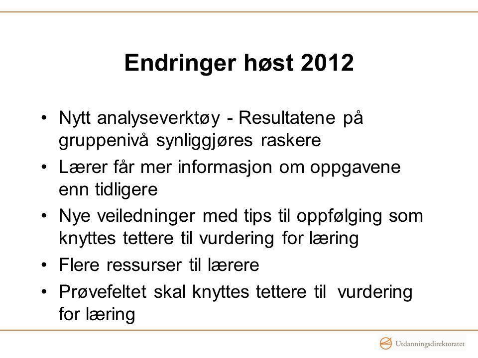 Endringer høst 2012 Nytt analyseverktøy - Resultatene på gruppenivå synliggjøres raskere. Lærer får mer informasjon om oppgavene enn tidligere.