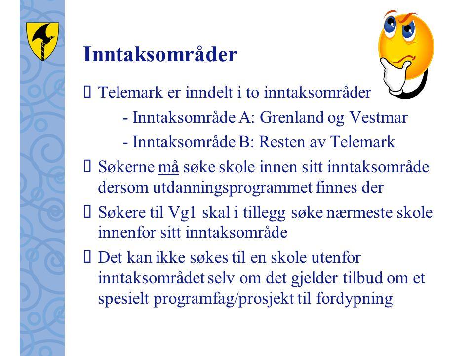 Inntaksområder Telemark er inndelt i to inntaksområder