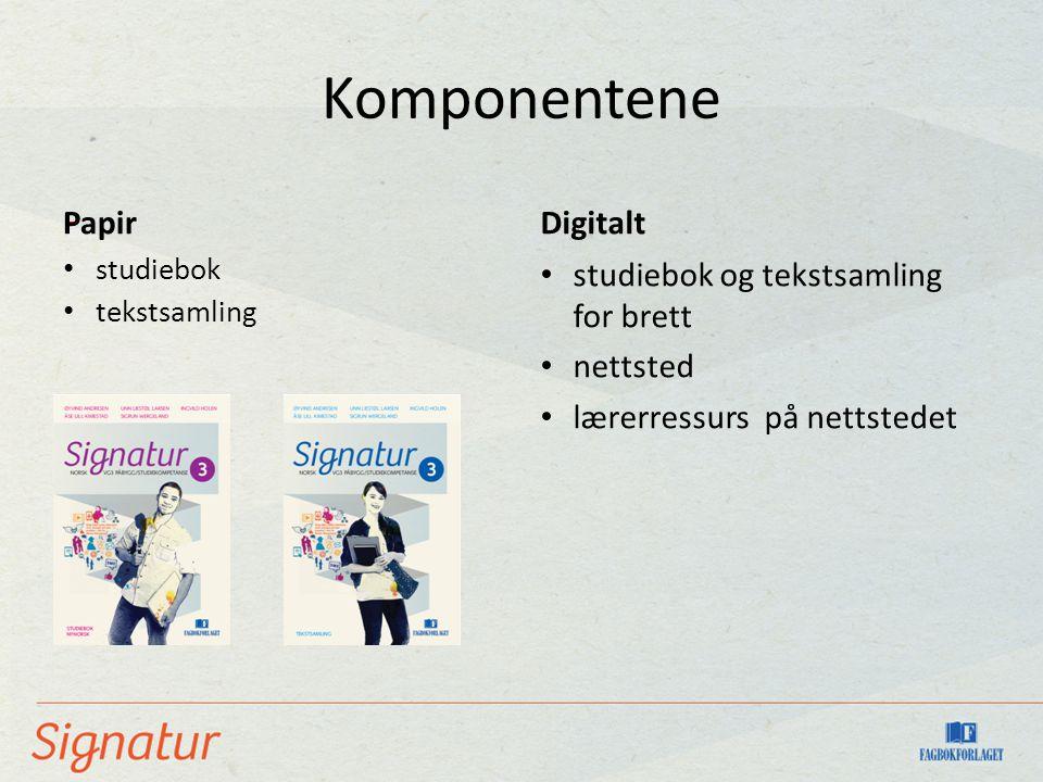 Komponentene - Papir Digitalt studiebok og tekstsamling for brett