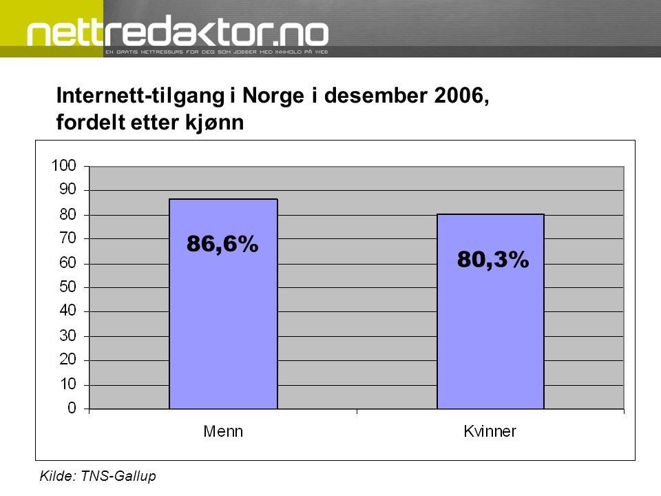 Internett-tilgang i Norge i desember 2006, fordelt etter kjønn