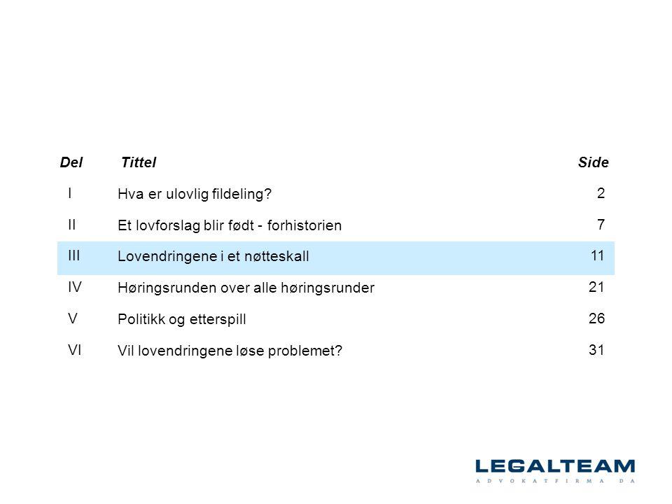 Del Tittel. Side. I. II. III. IV. V. VI. Hva er ulovlig fildeling Et lovforslag blir født - forhistorien.