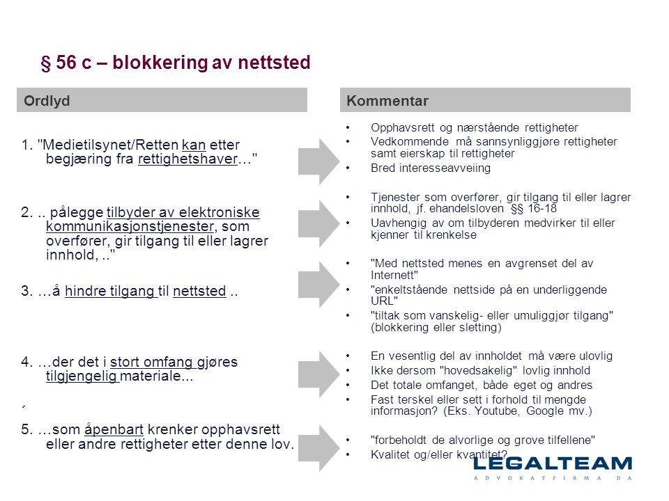 § 56 c – blokkering av nettsted