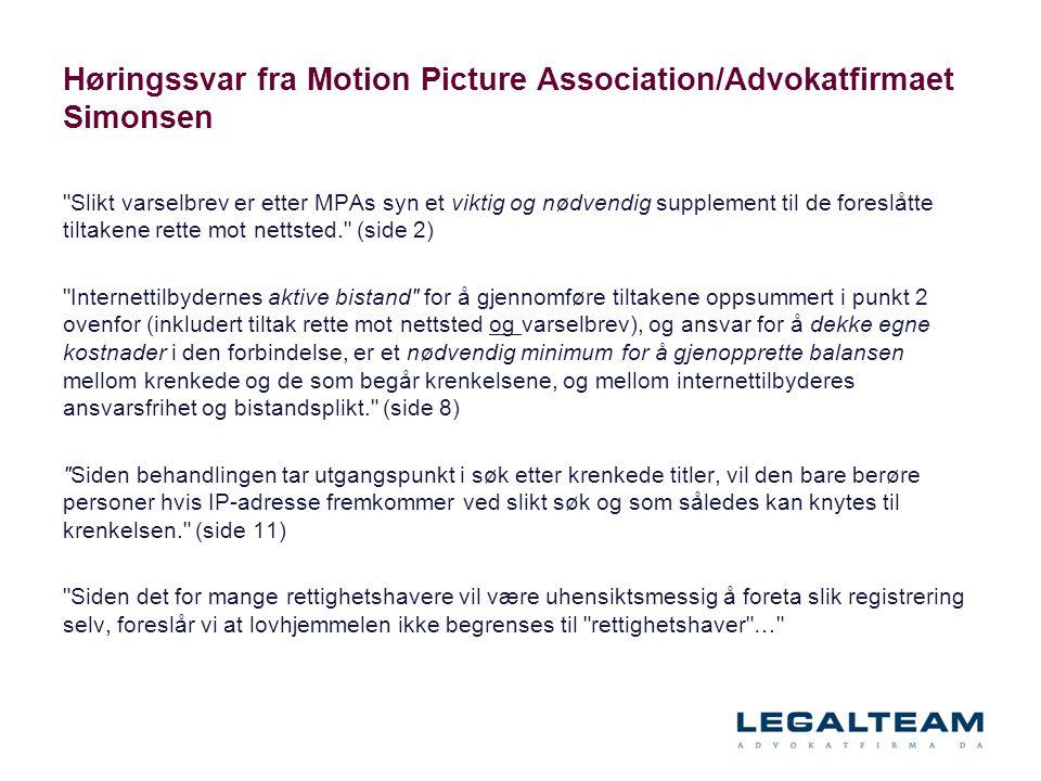 Høringssvar fra Motion Picture Association/Advokatfirmaet Simonsen