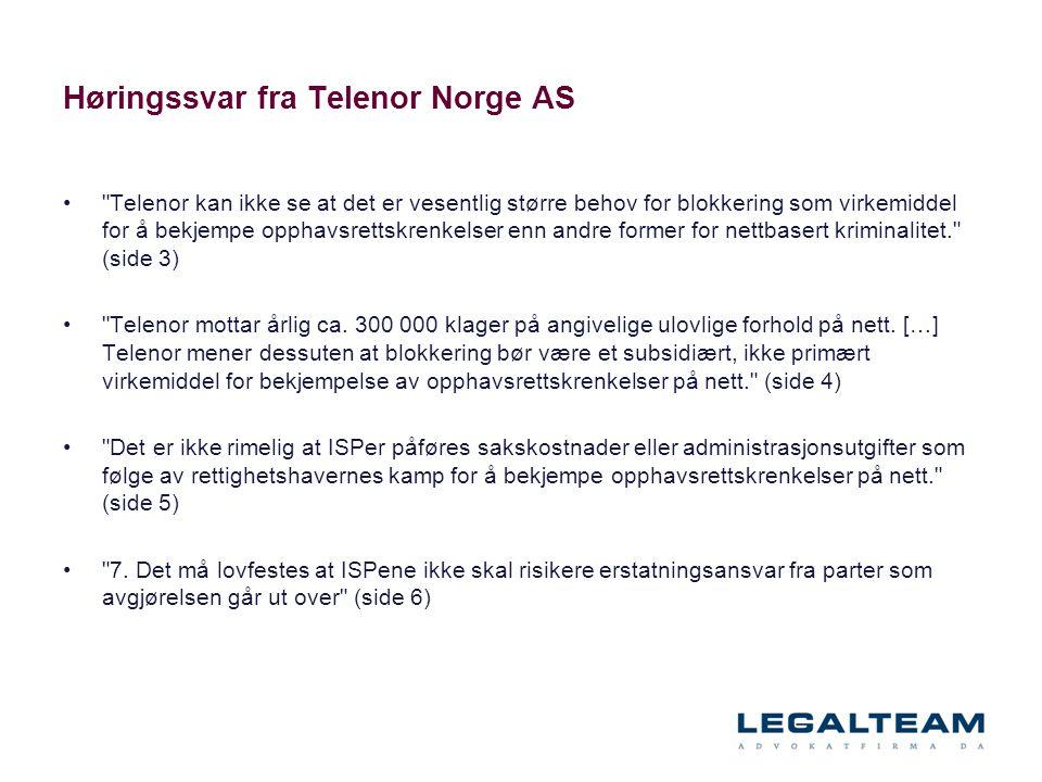 Høringssvar fra Telenor Norge AS