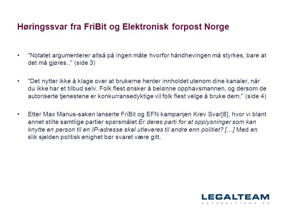 Høringssvar fra FriBit og Elektronisk forpost Norge