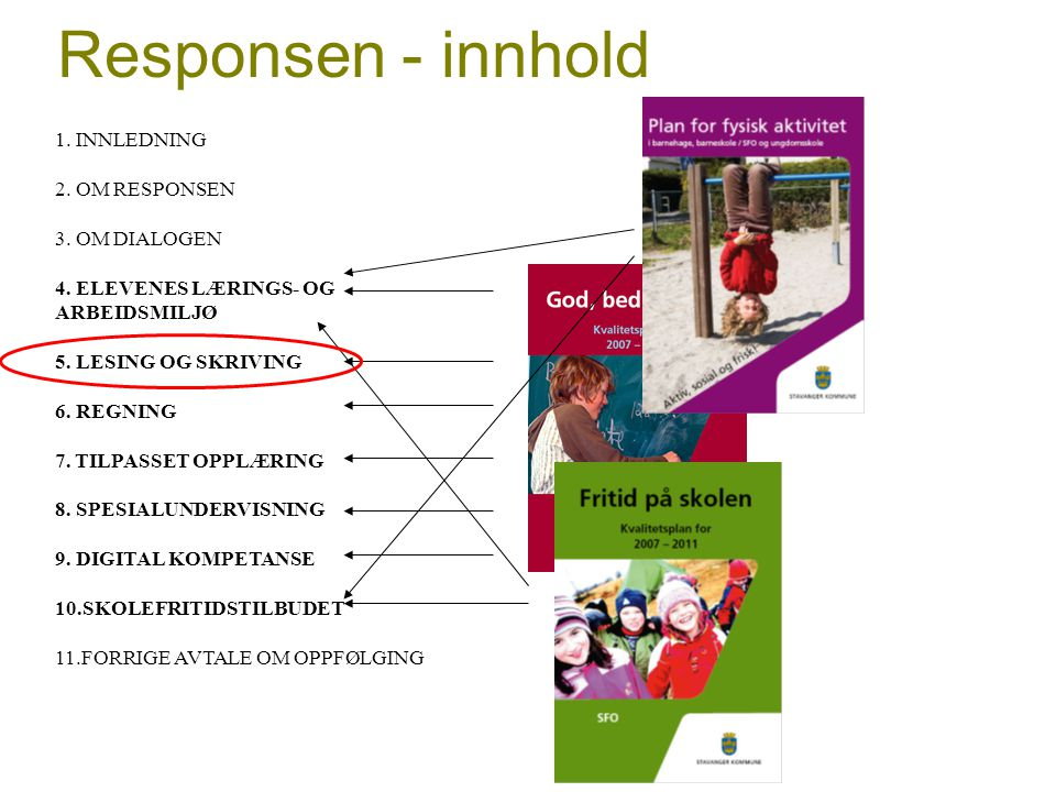 Responsen - innhold 1. INNLEDNING 2. OM RESPONSEN 3. OM DIALOGEN