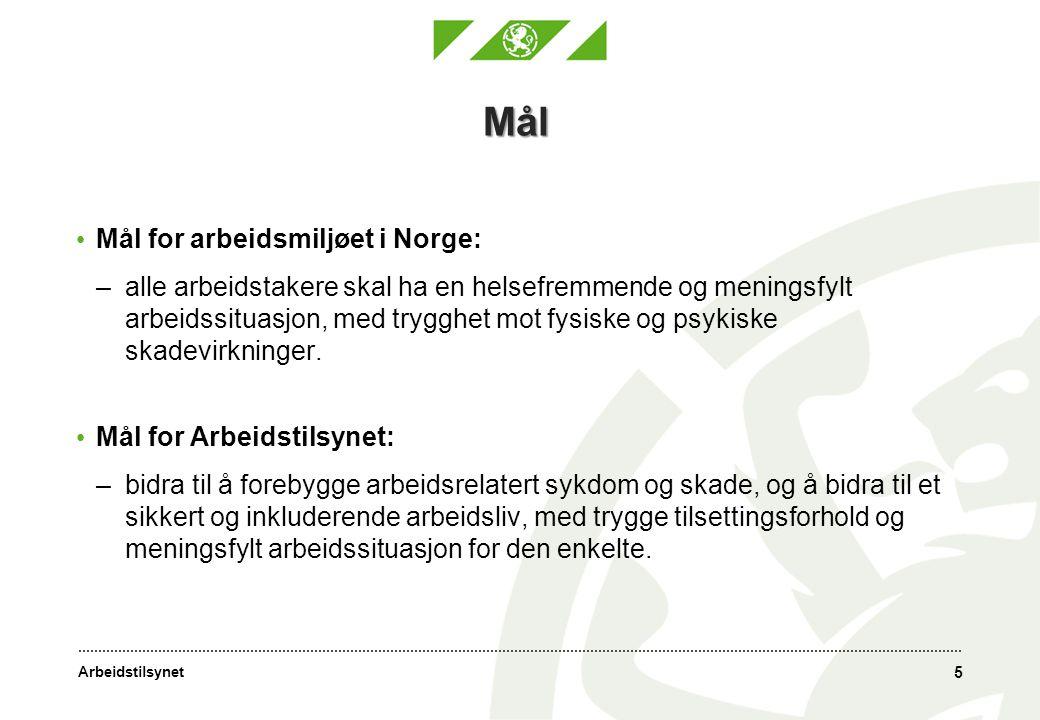 Mål Mål for arbeidsmiljøet i Norge: