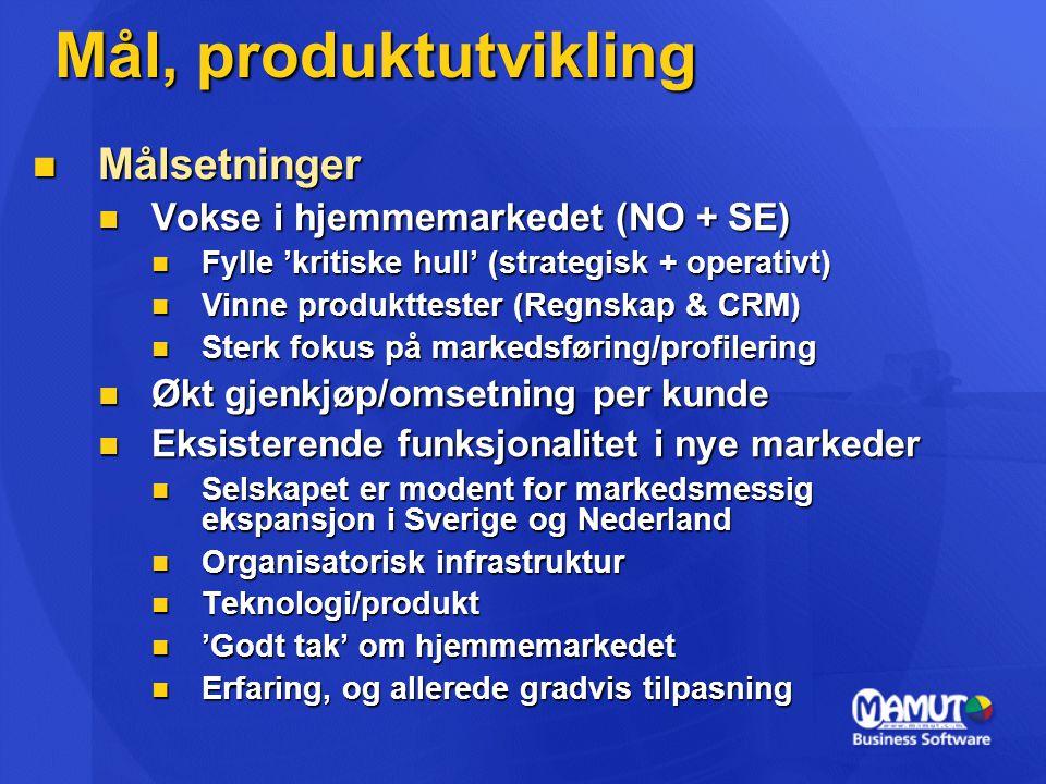 Mål, produktutvikling Målsetninger Vokse i hjemmemarkedet (NO + SE)